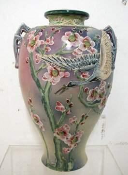 Pre 1891 Moraige Vase with Flying Crane