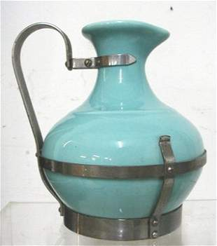 Metal Strapped Pottery Pitcher, Marked