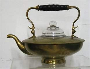 Brass w/Ideal Raised Lettering Glass Top Tea Pot