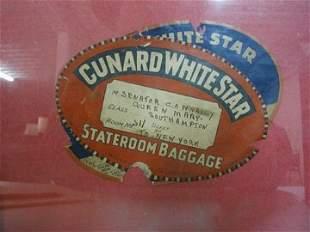Framed Cunard White Star Baggage Sticker
