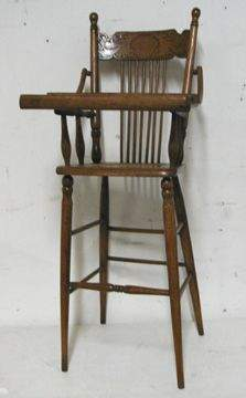 Oak Pressback Child's Highchair