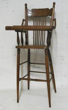 20: Oak Pressback Child's Highchair