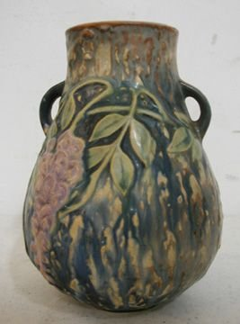 132: Roseville Wisteria 631-6 Blue Vase