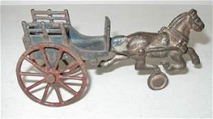 Blue Cast Iron Horse & Cart