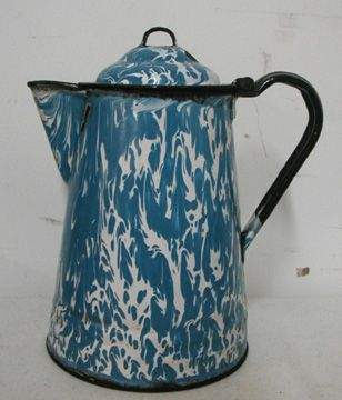 Blue Marbleized Porcelain Coffee Pot