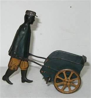 Tin Windup Toy Porter Walking Cart