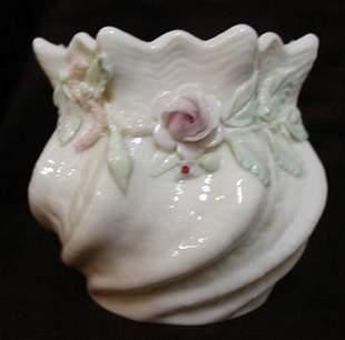 Belleek Vase with Applied Florals