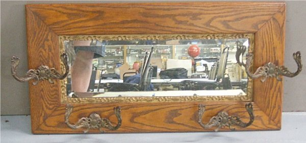 1005: Oak Victorian Wall Rack with Beveled Glass Mirror