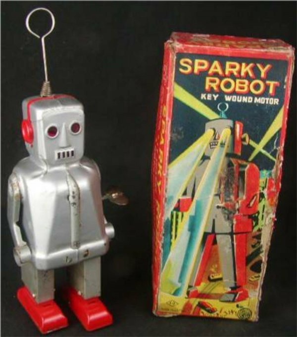 """1007: Sparky the Robot with Box, Tin Wind-up 9"""" High"""