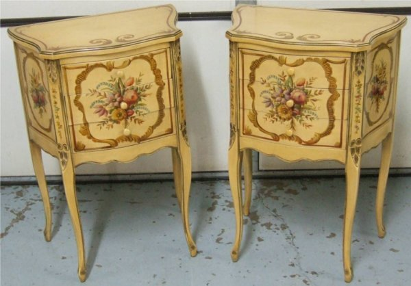 1010: End Tables, Probably French, Cottage Style, Flora