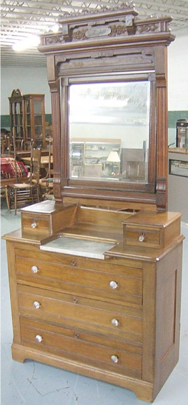 1015: 1860's Victorian Carved Dresser with Mirror and M