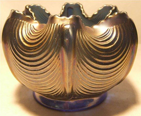 1016: Northwood Blue Carnival Glass Rose Bowl, 5 1/2Dia