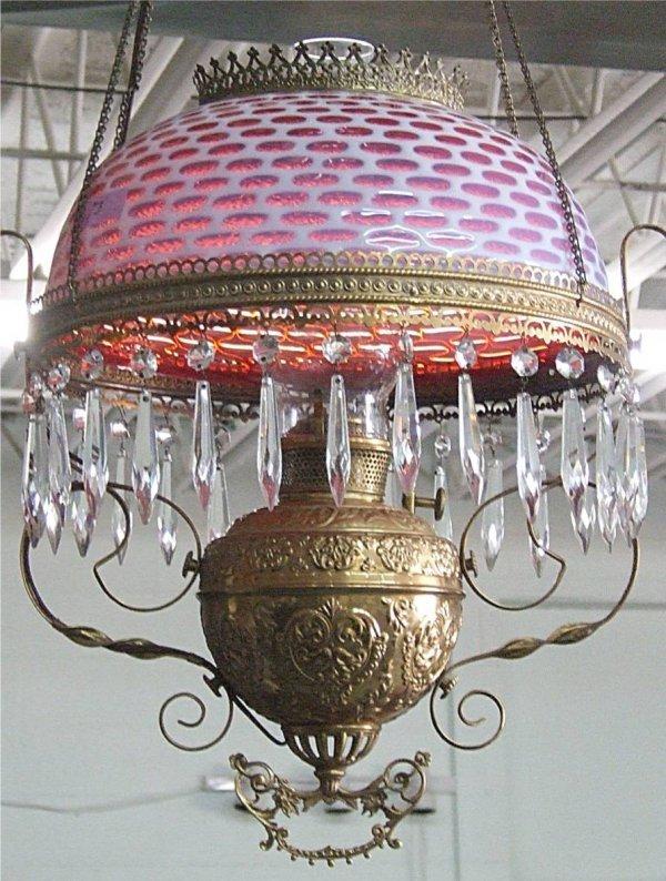 1051: Bradley & Hubbard Hanging Lamp, Ornate Brass Fram