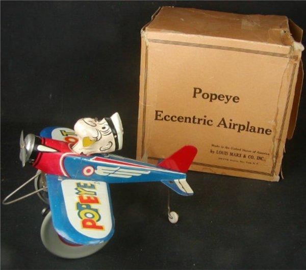 1141: Marx Popeye the Pilot Eccentric Airplane with Box