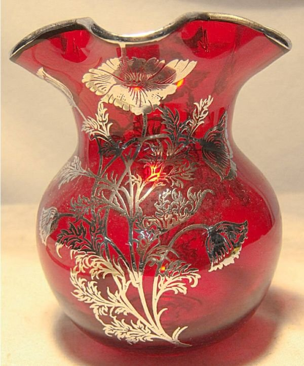 """1003: Ruby Silver Overlay Vase, 5""""H x 4"""" Dia., Excell"""
