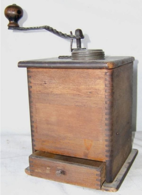 2005: Old Wooden Primitive Dovetail Coffee Grinder