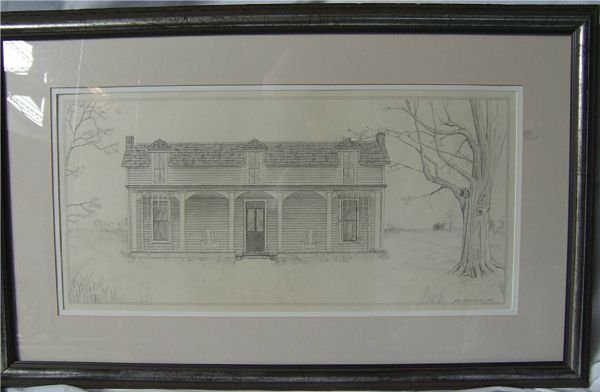 2018: 1980 Pencil Etching of Home by Hall Montgomery, 1