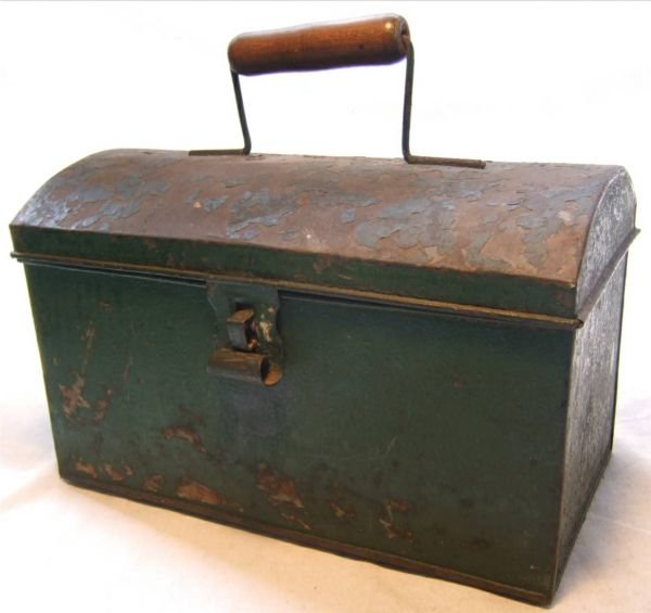 2021: Primitive Tin Lunch Bucket, Ca. 1800's, Wooden H