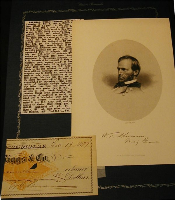 3010: William T. Sherman Autographed Check, Dated 2-19-