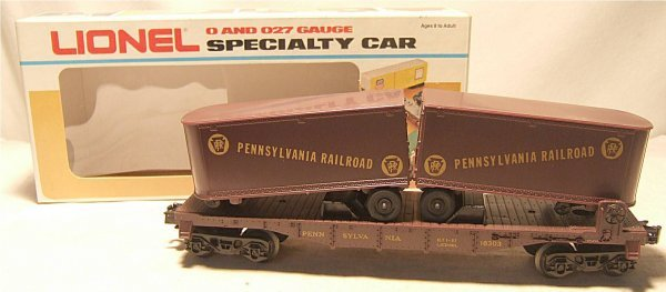4016: Lionel #16303 Pennsylvannia Flat Car with Trailer