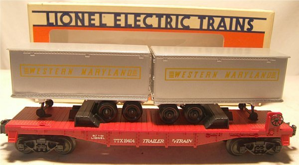4024: Lionel #19404 Western Maryland Flat with Trailers