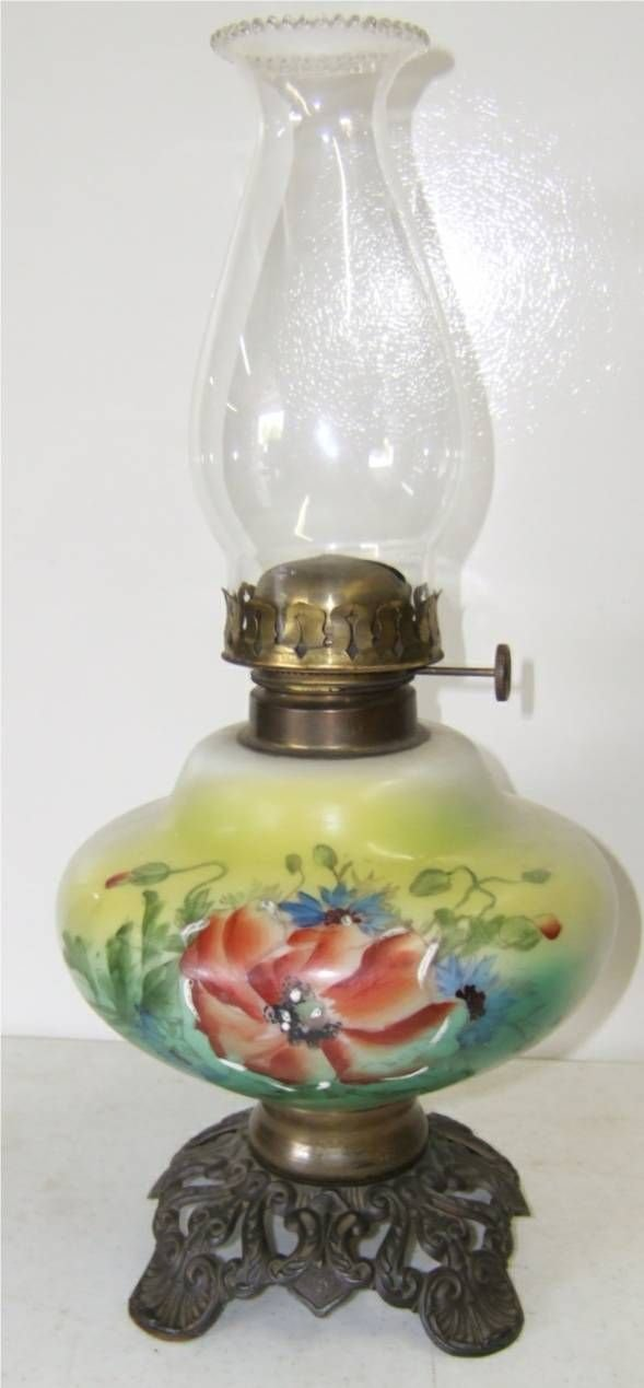 4003: Climax Hand Painted Oil Lamp 18 1/2 High, Excelle