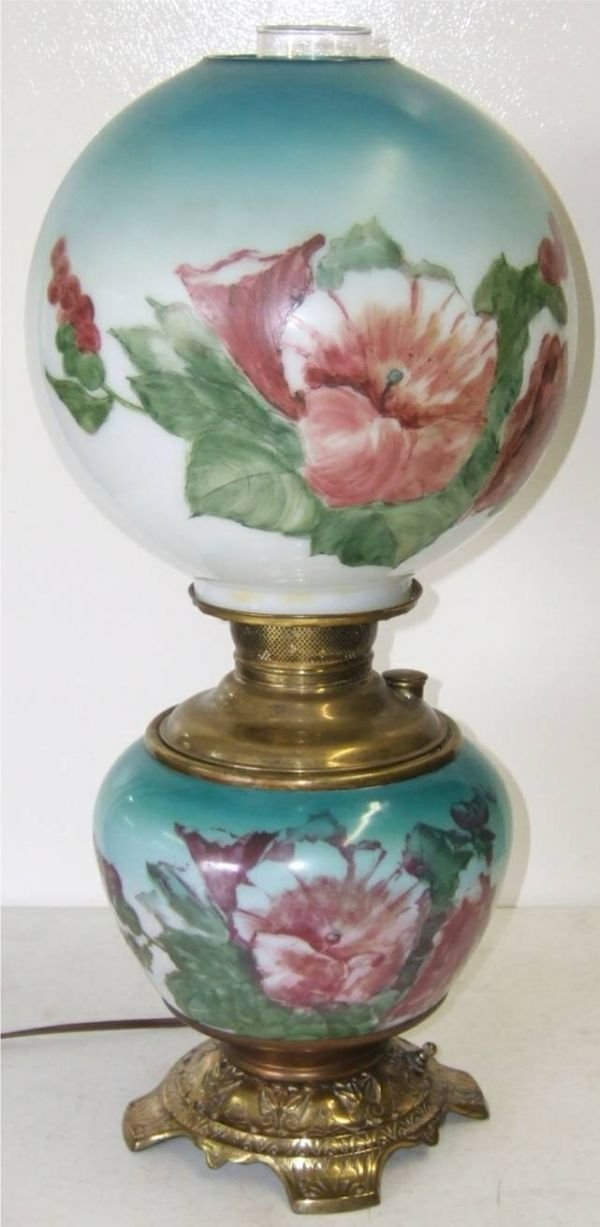 4011: Juno Hand Painted Gone with the Wind Oil Lamp 21H
