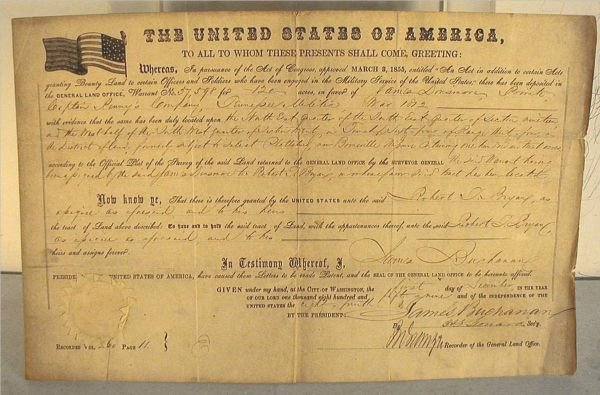 1057: 1859 Land Grant Signed by Jame Buchanan