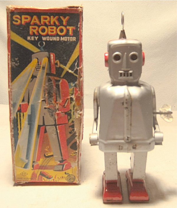"2007: Sparky the Robot with Box, Tin Wind-up 9"" High"