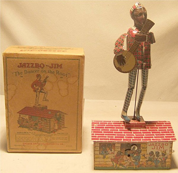"2134: Unique Art Jazzbo Jim with Box. 10"" High, Works G"