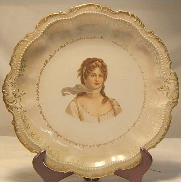 "3005: Victorian Figural Plate by Empire China 10 1/2"" D"