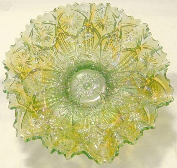 3019: Millersburg Green Fleur de Lis Sawtooth Footed Bo