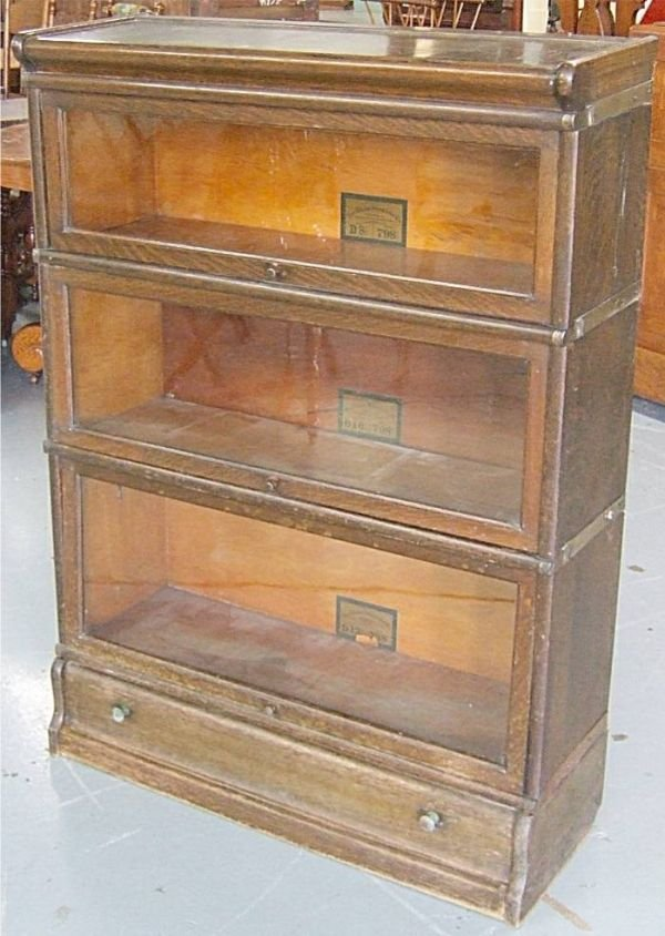 3008: Three Stack Oak Barrister Bookcase with Drawer