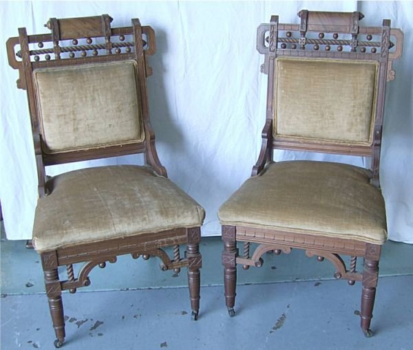 3016: Pair of Victorian Stick and Ball Chairs, Ca. 1800
