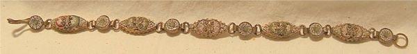3005A: Antique Micro Mossaic Floral Pattern Bracelet, 7