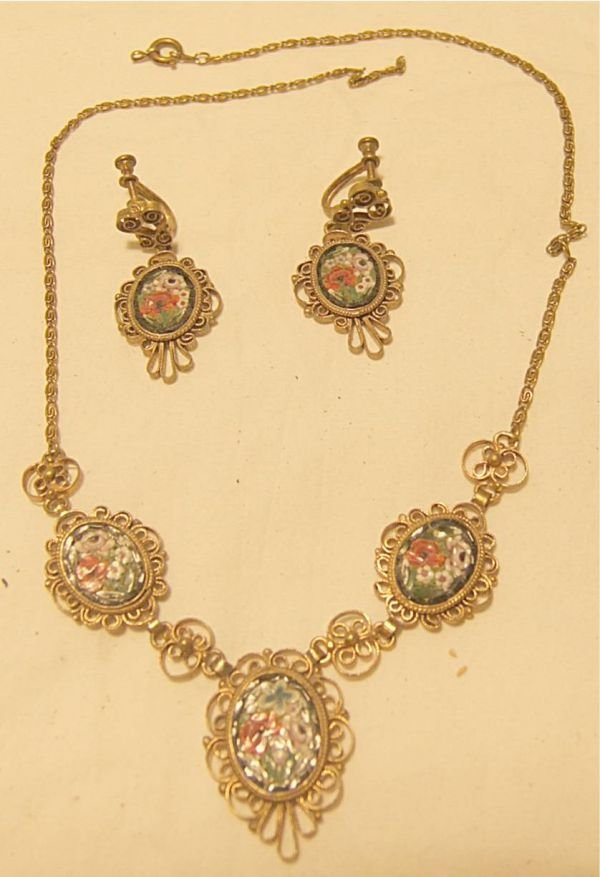 3010A: Antique Micro Mossaic Drop Necklace with Matchin