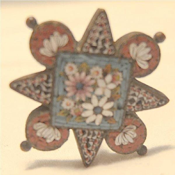 3020A: Antique Micro Mossaic Hat Pin, 7 1/4L, Excellent