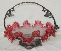 3094 Rare Cranberry Iced Victorian Brides Basket Pairp