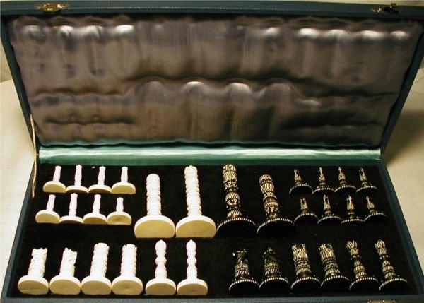 4035: Vintage Carved Ivory Carved Chess Set in Original