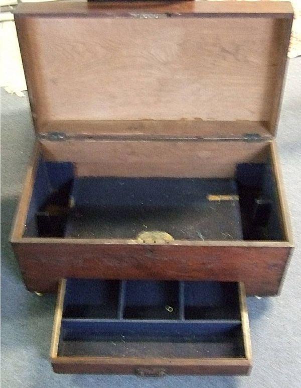 4018: 1800's Dovetailed Single Drawer Tool Box, Walnut