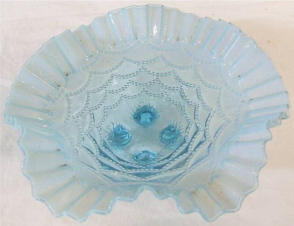 4003: Jefferson Glass 1906 Blue Opalescent Glass Beaded