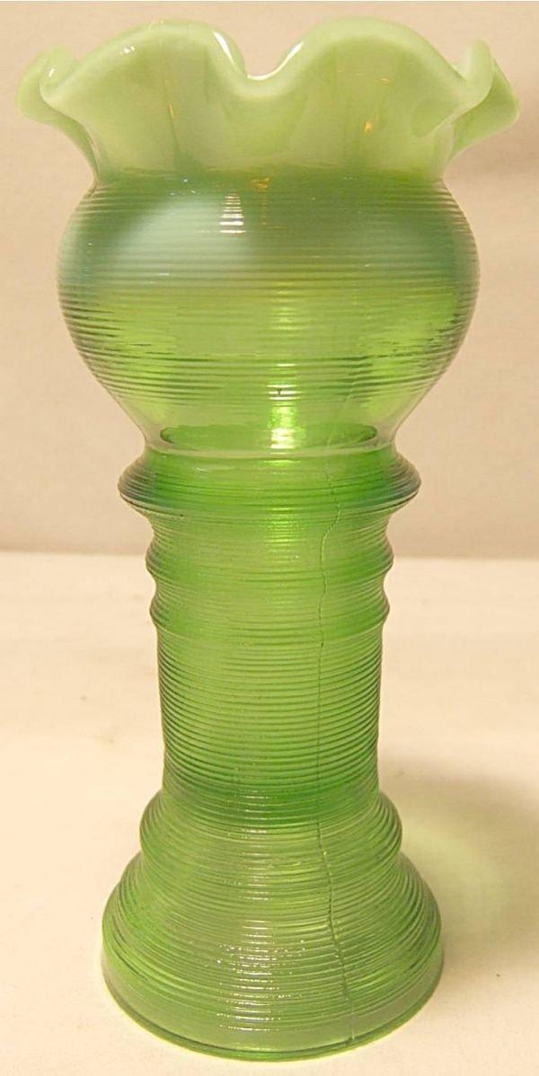 4017: Jefferson Glass Green Opalescent Spools Hyacinth