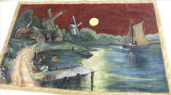 4002: Vintage Hand Painted Velvet Tapestry, 45L x 28W
