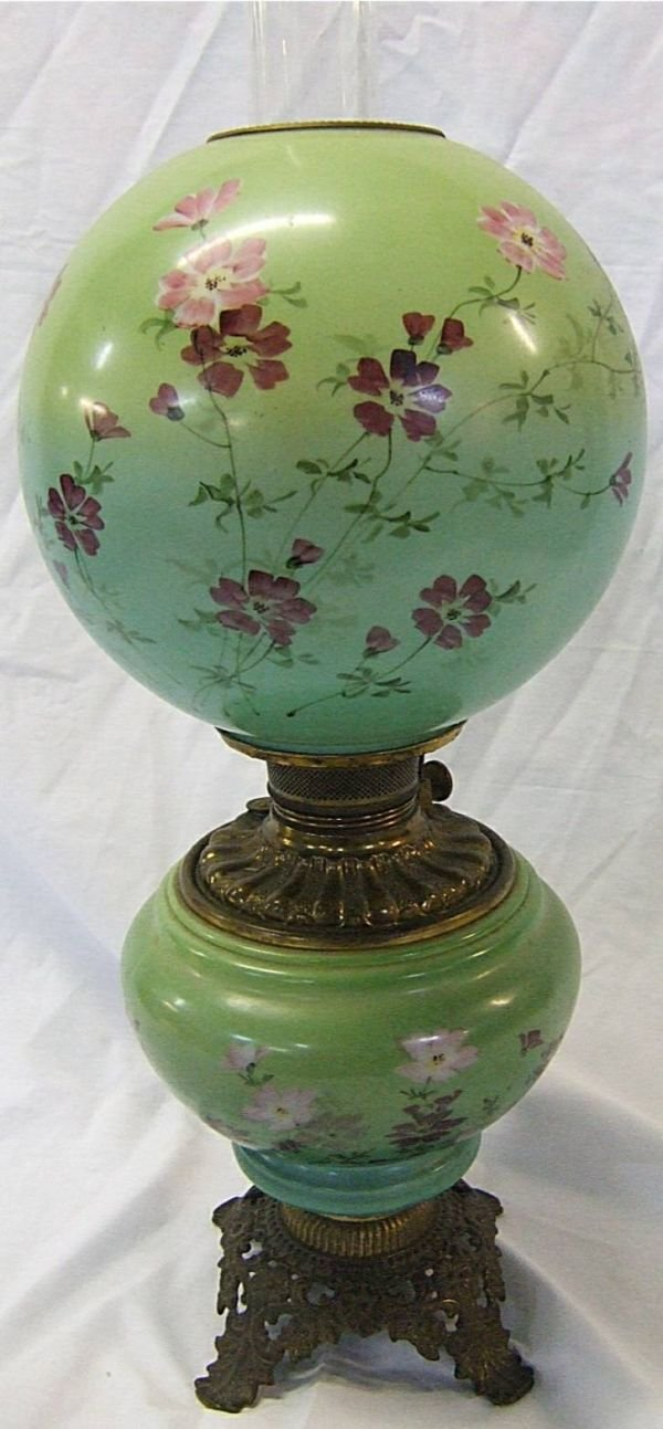 4103: 1800's Hand Painted Floral with the Wind Oil Lam