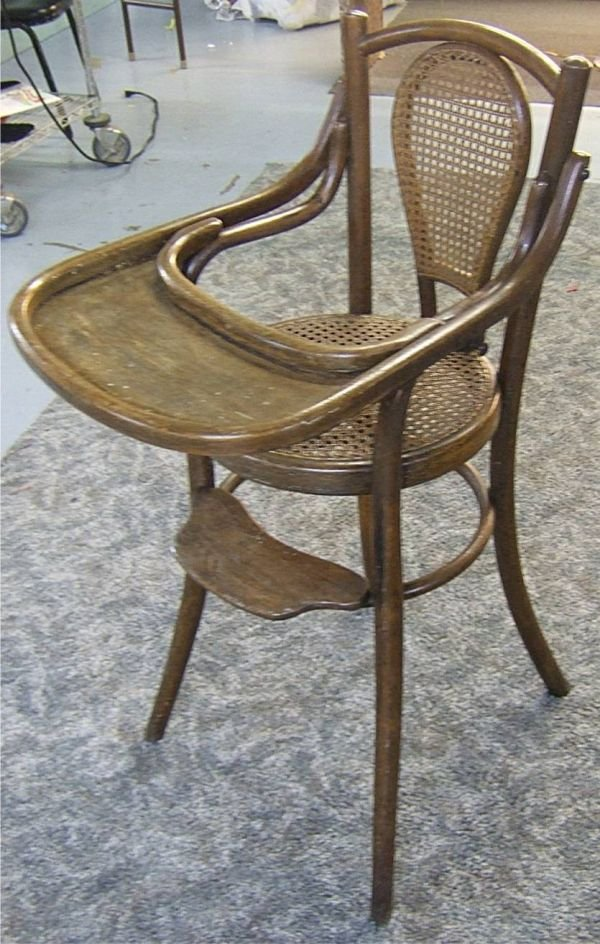 4023: Cane Seat High Chair with Original Lift Table, 38