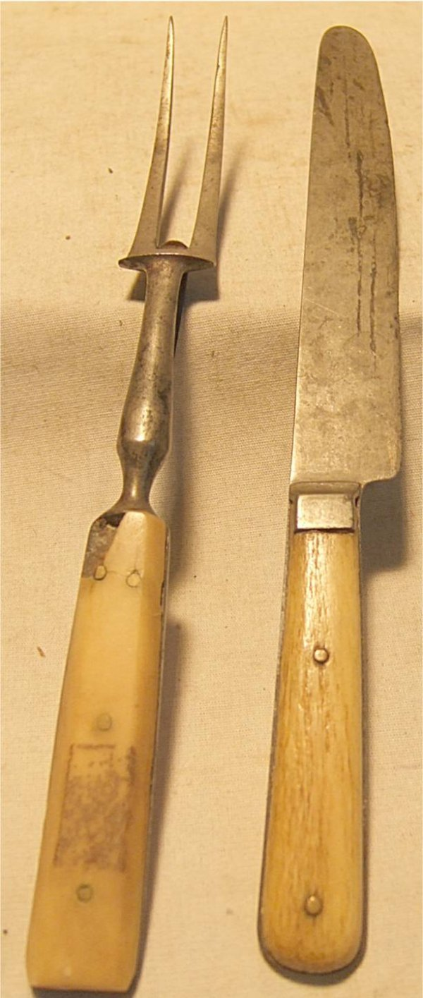 3015: Civil War Period Fork and Knife, Marked and Dated