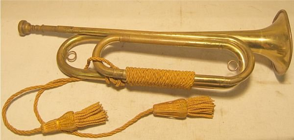 "3014: WWI US Regulation Bugle, Made in USA, 18""H"