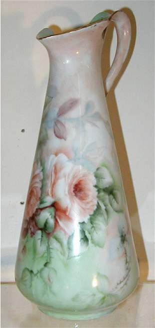 Unmarked Limoges Hand Painted Pitcher
