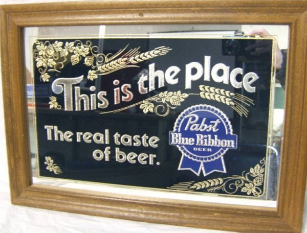 7: Pabst Blue Ribbon Mirrored Advertisement