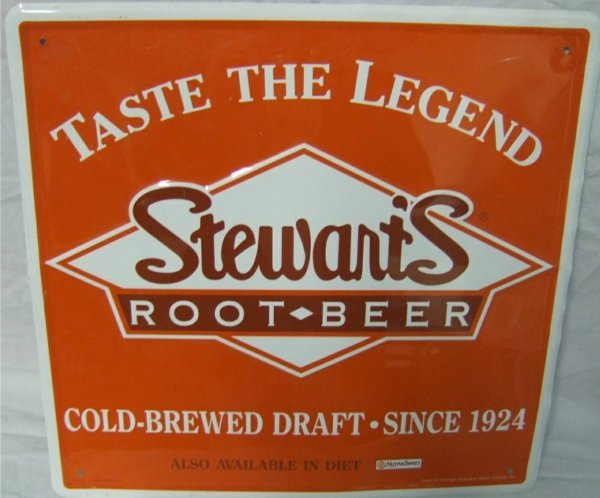 14: Stewart's Root Beer Tin Sign 18 x 17